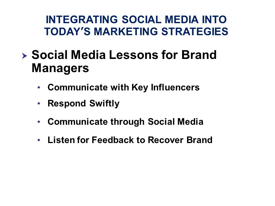  Social Media Lessons for Brand Managers Communicate with Key Influencers Respond Swiftly Communicate through Social Media Listen for Feedback to Rec