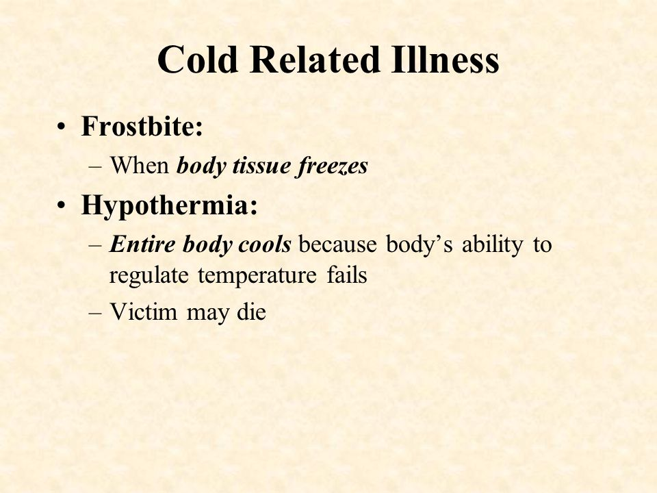 –Heat Stroke (Late stage) Most severe….. Red skin Usually dry Change in consciousness Rapid, weak pulse Rapid, shallow breathing Care: –Move to cool a