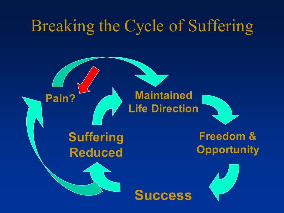 Breaking the Cycle of Suffering Success Freedom & Opportunity Suffering Reduced Pain Maintained Life Direction