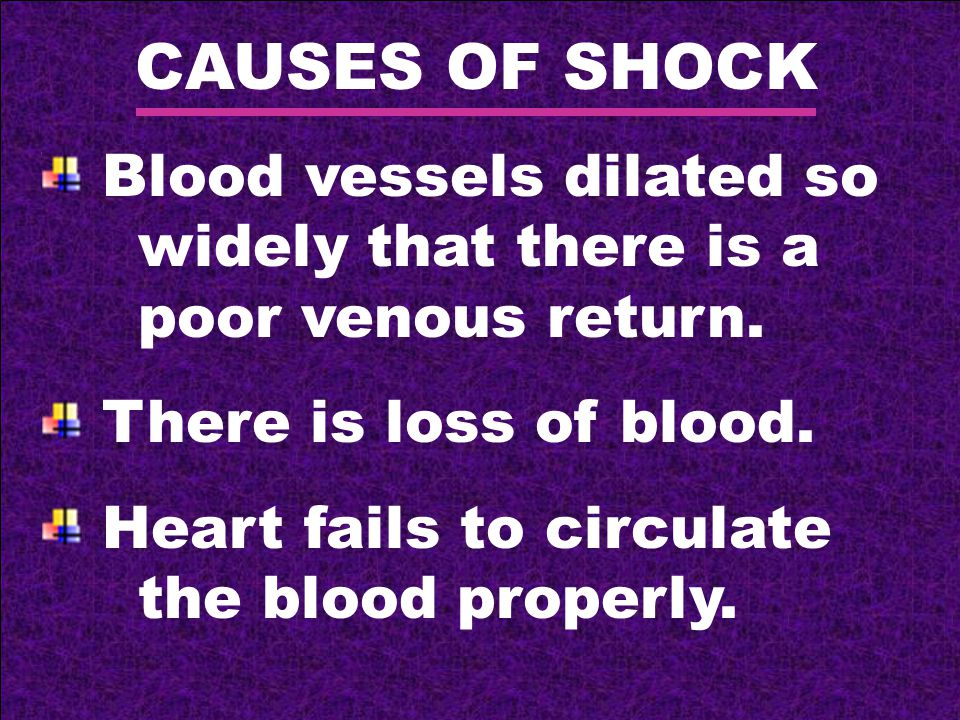 CAUSES OF SHOCK Blood vessels dilated so widely that there is a poor venous return.