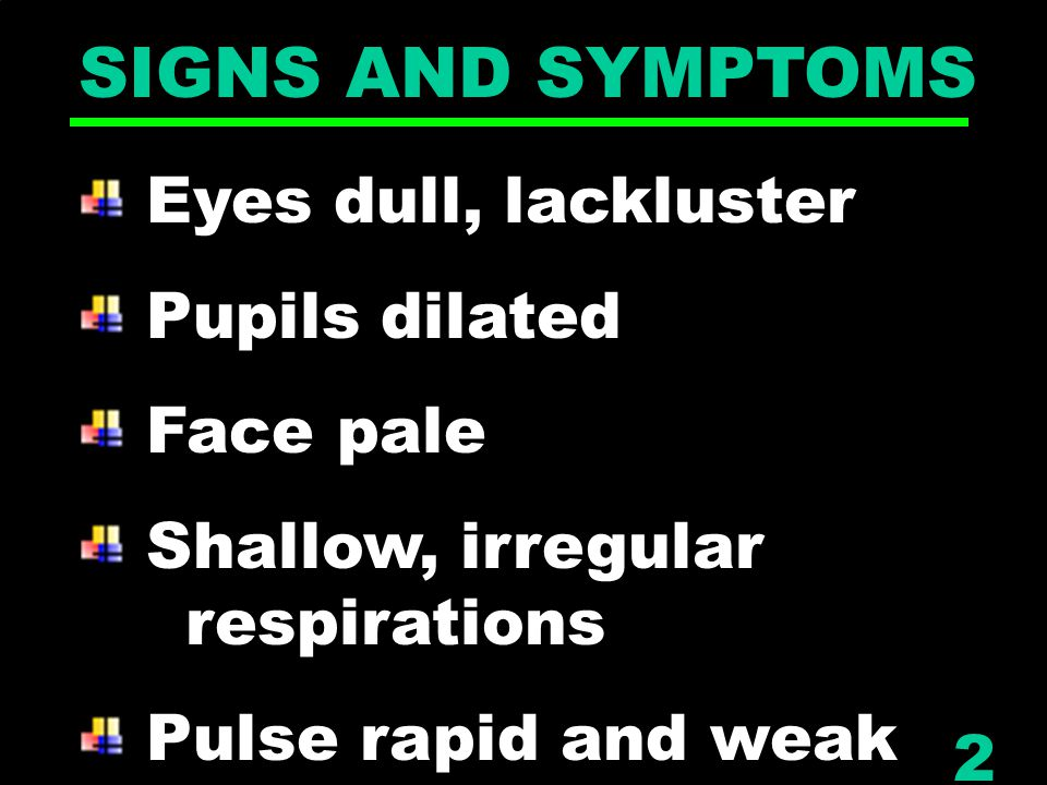 SIGNS AND SYMPTOMS Eyes dull, lackluster Pupils dilated Face pale Shallow, irregular respirations Pulse rapid and weak 2