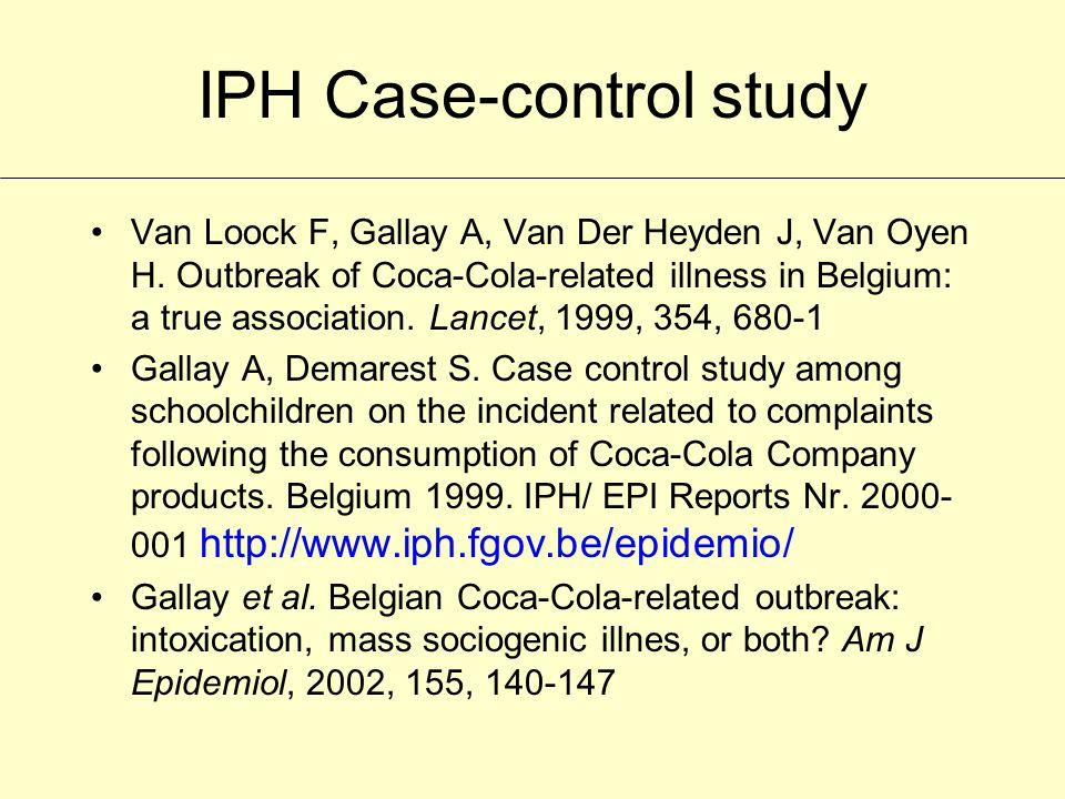 IPH Case-control study Van Loock F, Gallay A, Van Der Heyden J, Van Oyen H.