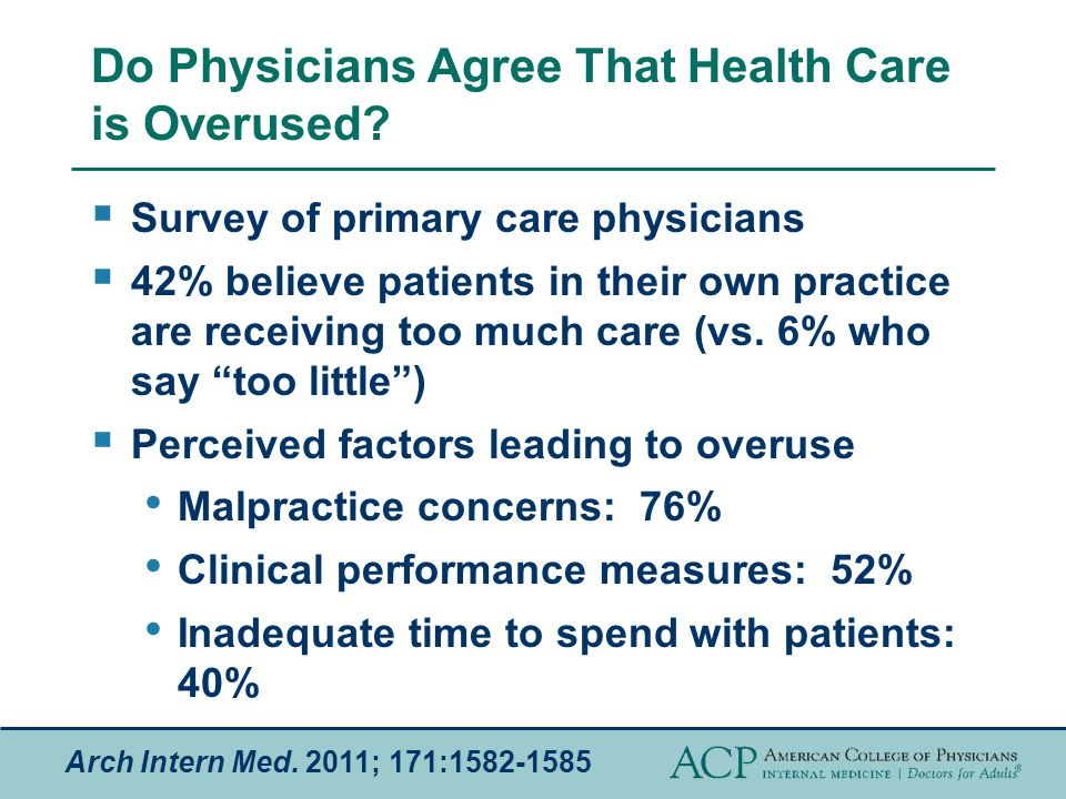 Do Physicians Agree That Health Care is Overused.