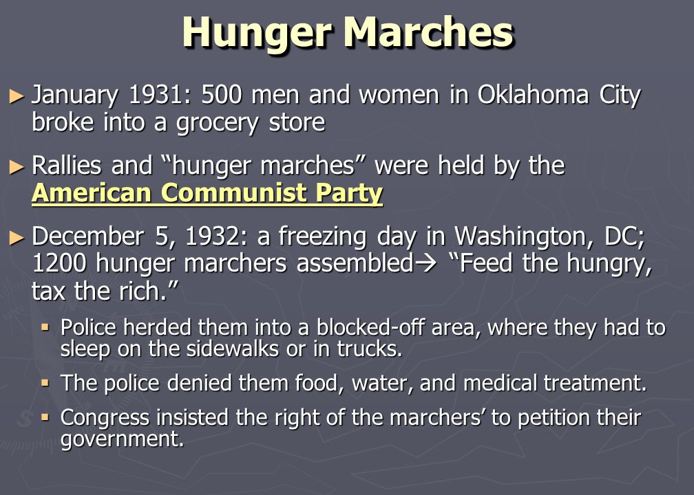 Direct Help for Citizens ► Hoover strongly opposed the federal government's participation in relief. WHY?  Hoover did not support federal public assi