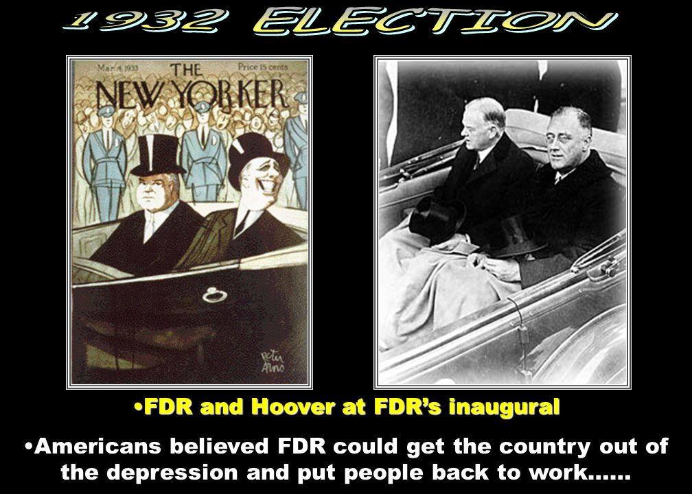 Democrat RepublicanDemocrat Franklin D. Roosevelt, beat the Republican, Herbert Hoover, who was running for reelection. FDRFDR promised relief for the