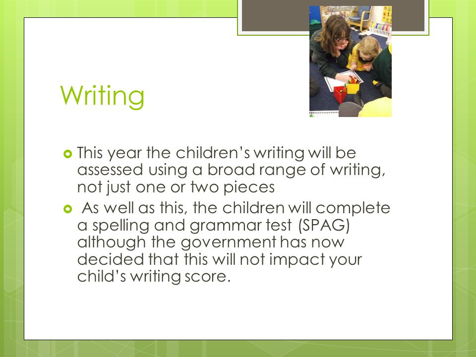 Writing  This year the children's writing will be assessed using a broad range of writing, not just one or two pieces  As well as this, the children will complete a spelling and grammar test (SPAG) although the government has now decided that this will not impact your child's writing score.
