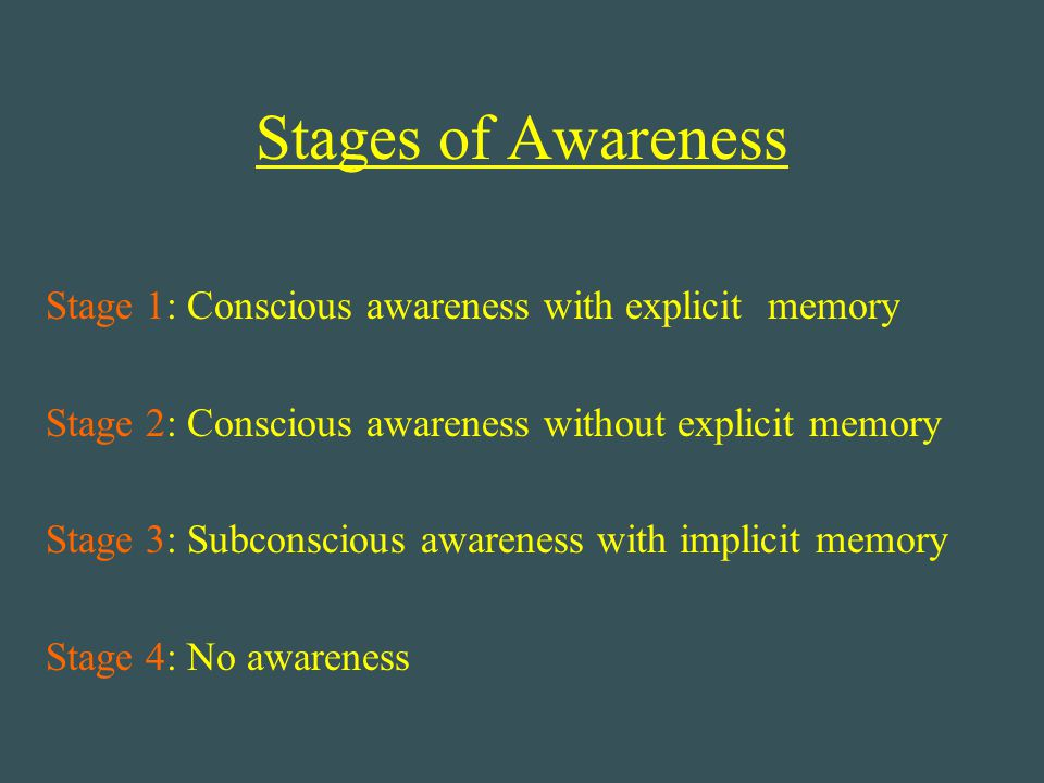 Stages of Awareness Stage 1: Conscious awareness with explicit memory Stage 2: Conscious awareness without explicit memory Stage 3: Subconscious aware