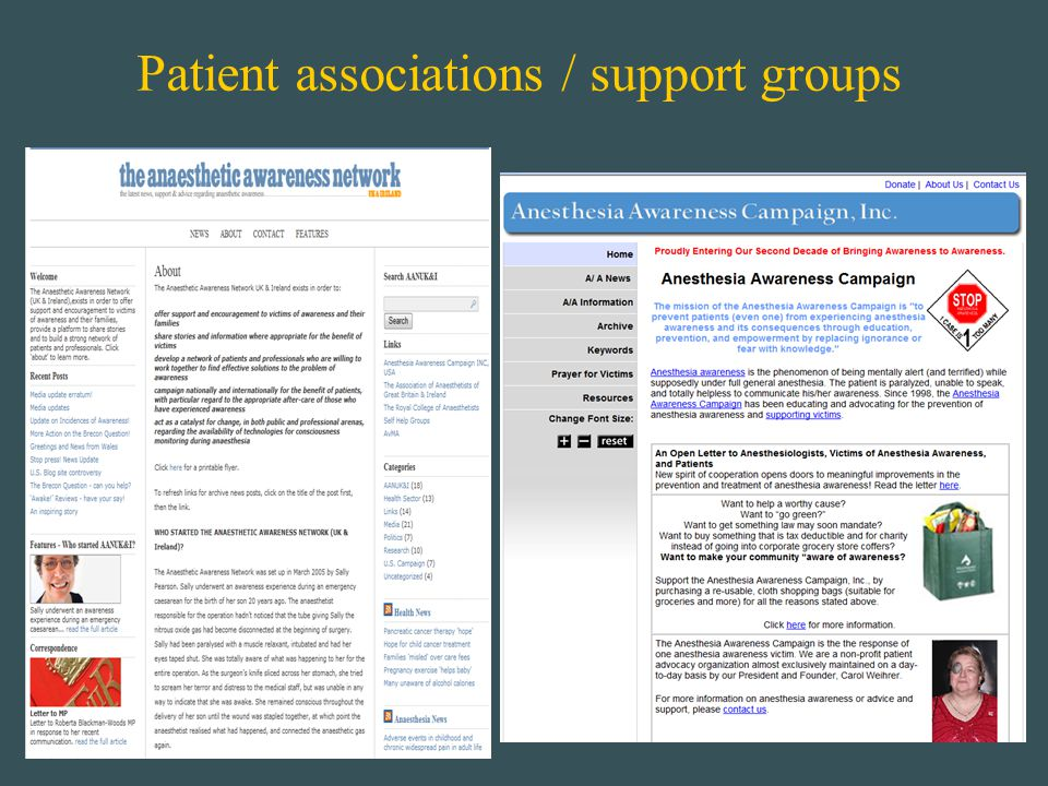Patient associations / support groups