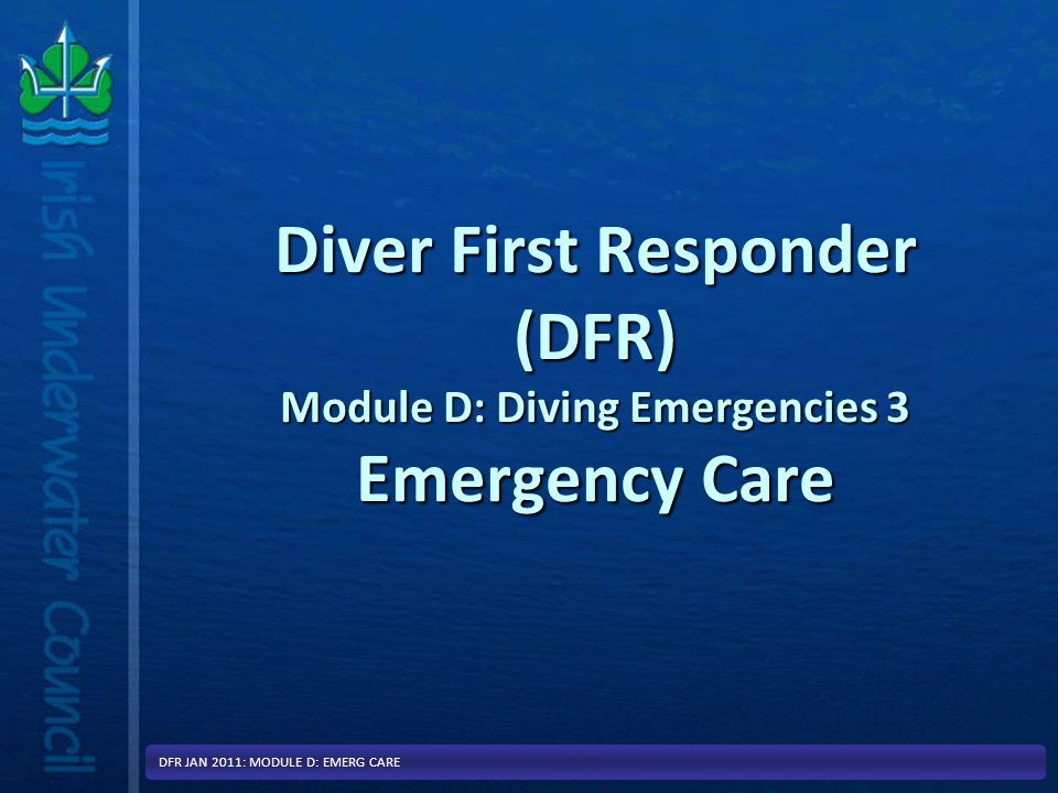 Dealing with any other Sudden Injury or Illness DFR JAN 2011: MODULE D: EMERG CARE