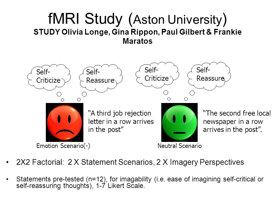 fMRI Study ( Aston University ) STUDY Olivia Longe, Gina Rippon, Paul Gilbert & Frankie Maratos 2X2 Factorial: 2 X Statement Scenarios, 2 X Imagery Perspectives Statements pre-tested (n=12), for imagability (i.e.