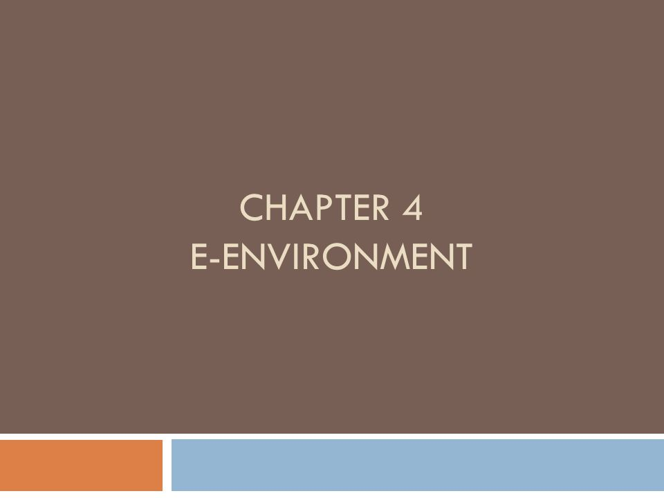 CHAPTER 4 E-ENVIRONMENT