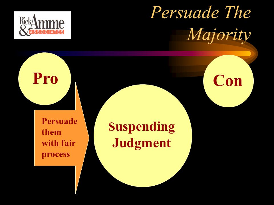 Persuade The Majority ConPro S uspending Judgment Persuade them with fair process