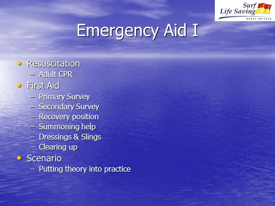 Emergency Aid I Resuscitation Resuscitation –Adult CPR First Aid First Aid –Primary Survey –Secondary Survey –Recovery position –Summoning help –Dressings & Slings –Clearing up Scenario Scenario –Putting theory into practice