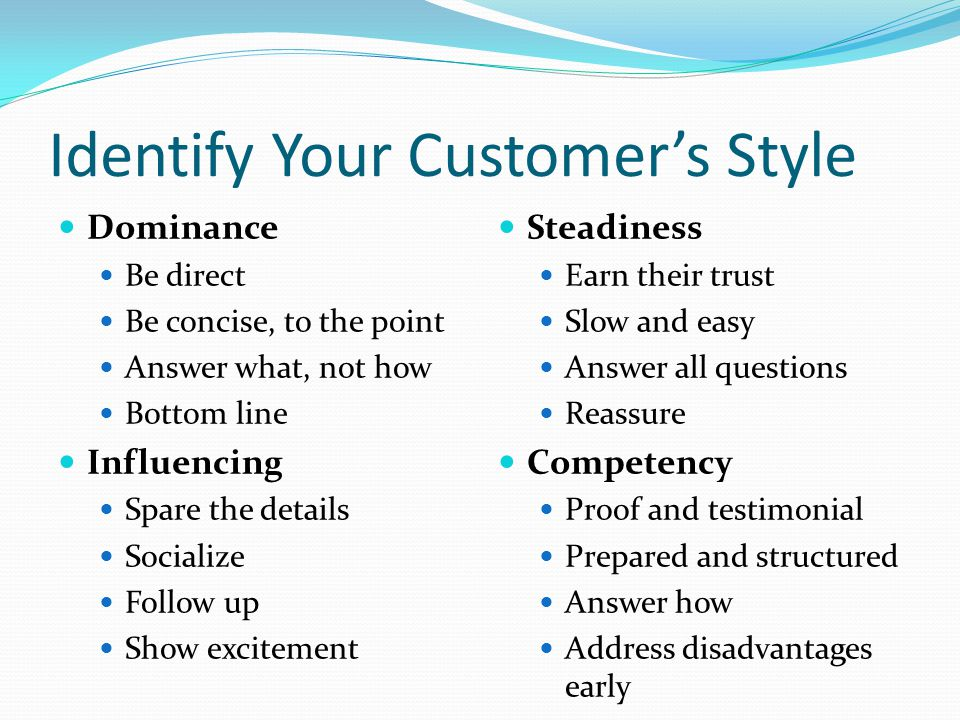 Identify Your Customer's Style Dominance Be direct Be concise, to the point Answer what, not how Bottom line Influencing Spare the details Socialize Follow up Show excitement Steadiness Earn their trust Slow and easy Answer all questions Reassure Competency Proof and testimonial Prepared and structured Answer how Address disadvantages early