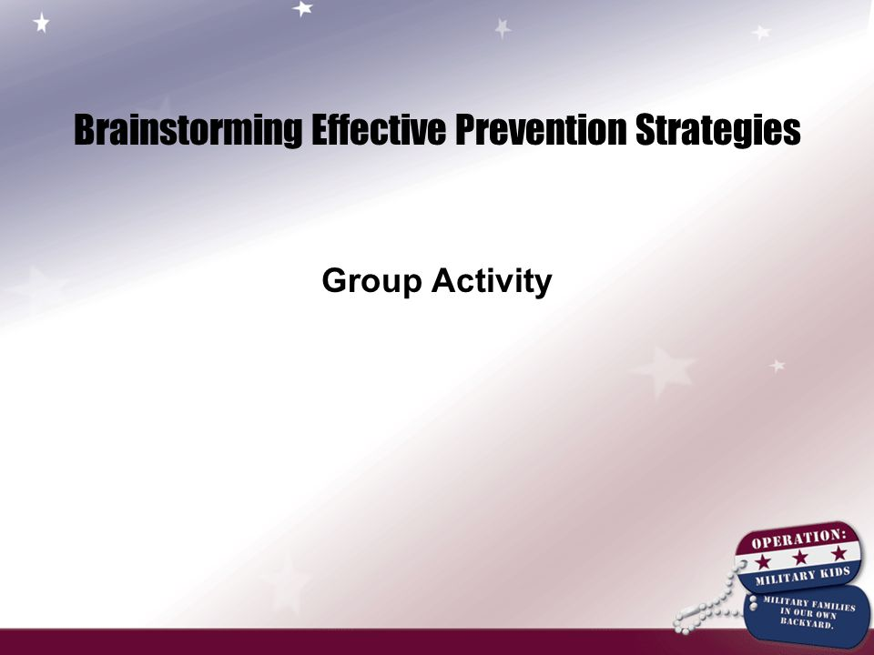 Brainstorming Effective Prevention Strategies Group Activity