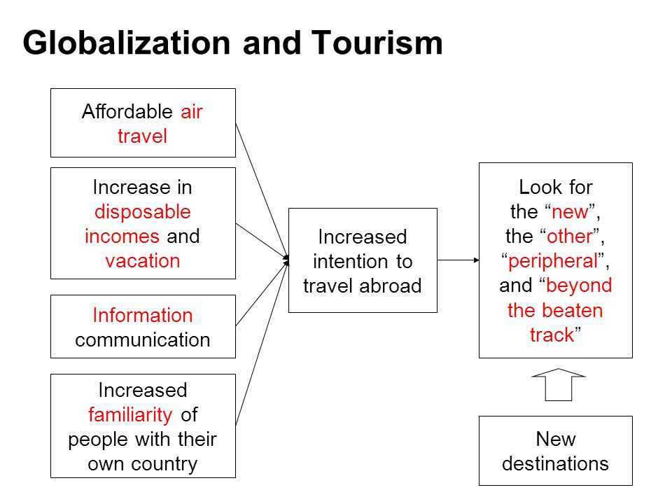 Negative Impact of Globalization Commodification –conversion of a destination's culture into a commodity in response to the perceived or actual demands of the tourist market –Loss of authenticity Americanization Homogenization
