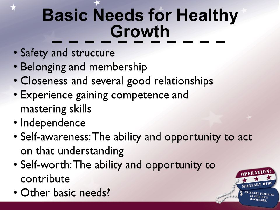Safety and structure Belonging and membership Closeness and several good relationships Experience gaining competence and mastering skills Independence Self-awareness: The ability and opportunity to act on that understanding Self-worth: The ability and opportunity to contribute Other basic needs.