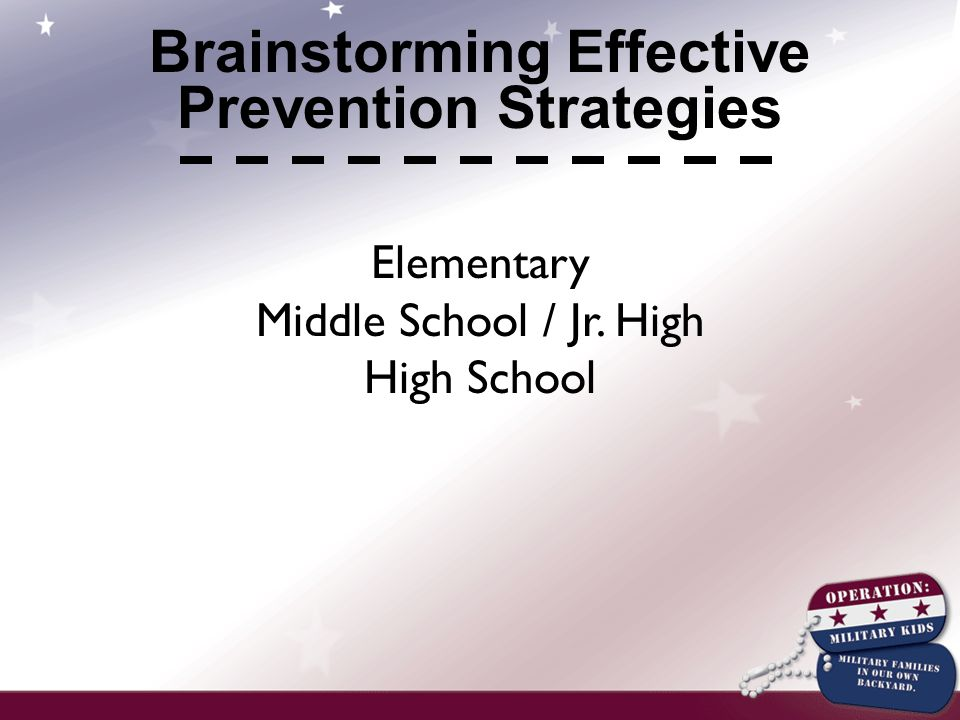 Elementary Middle School / Jr. High High School Brainstorming Effective Prevention Strategies