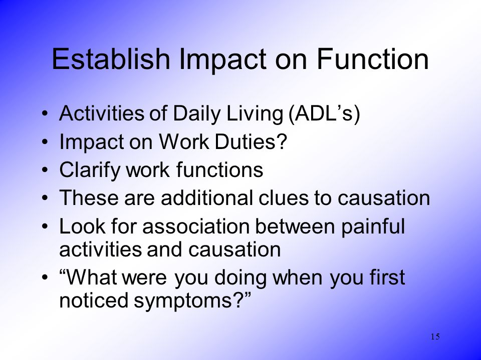 15 Establish Impact on Function Activities of Daily Living (ADL's) Impact on Work Duties.