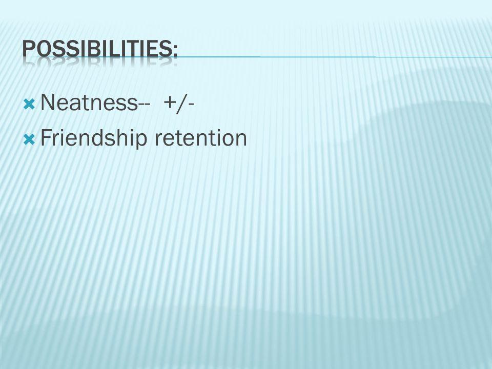  Neatness-- +/-  Friendship retention