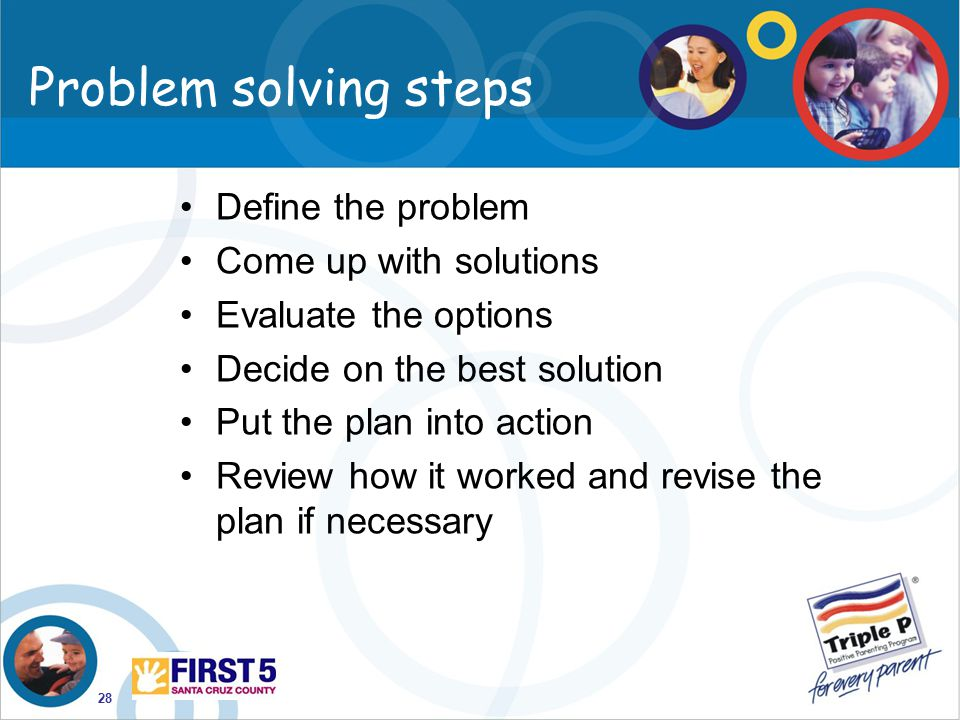 28 Problem solving steps Define the problem Come up with solutions Evaluate the options Decide on the best solution Put the plan into action Review ho