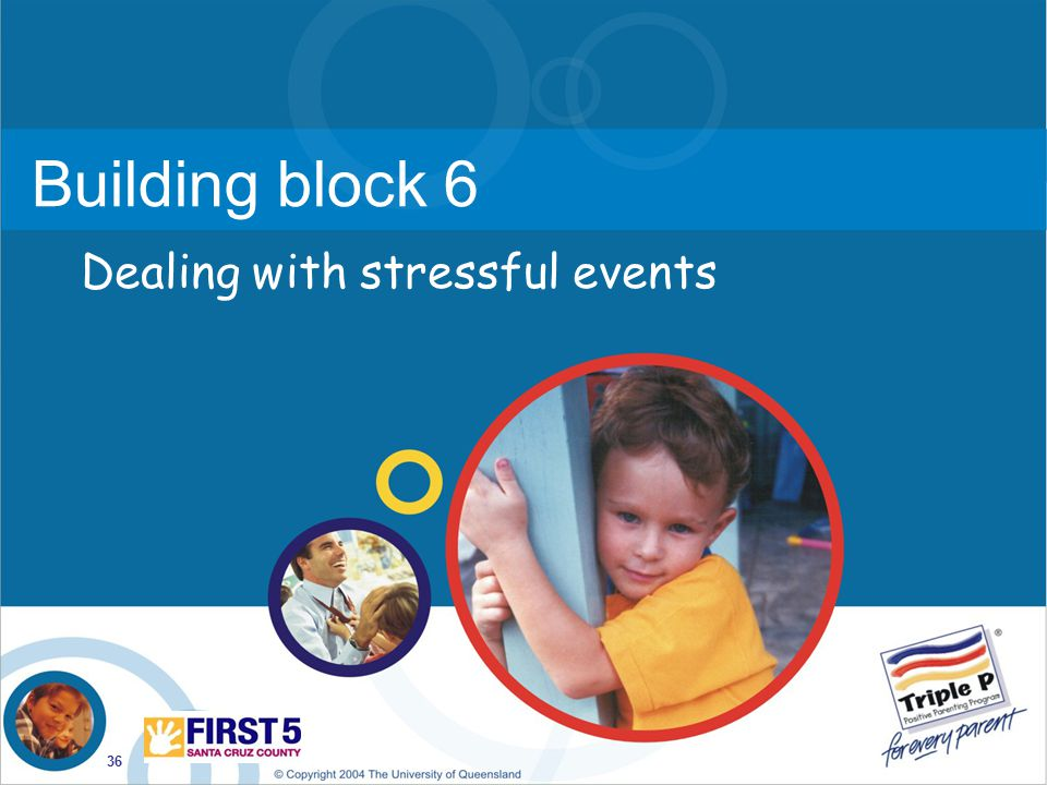 36 Building block 6 Dealing with stressful events