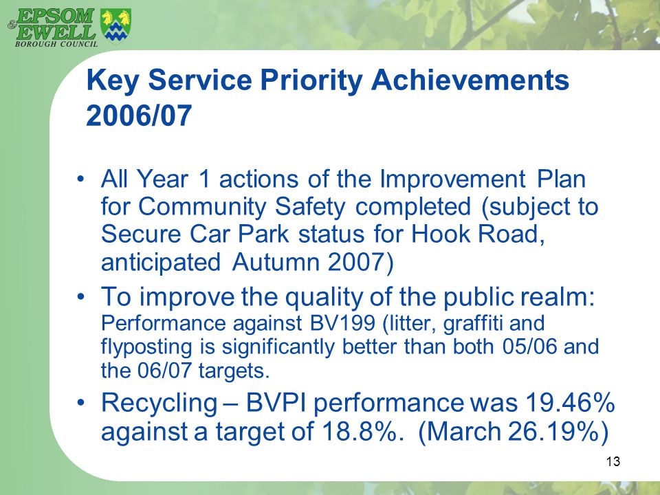 13 Key Service Priority Achievements 2006/07 All Year 1 actions of the Improvement Plan for Community Safety completed (subject to Secure Car Park sta