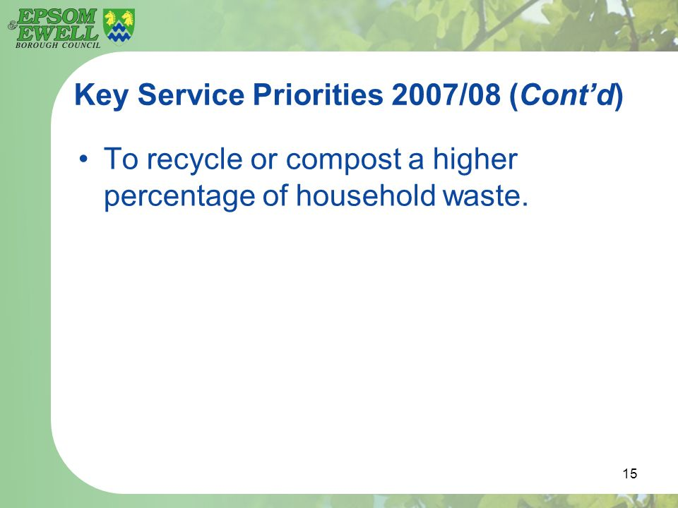 15 Key Service Priorities 2007/08 (Cont'd) To recycle or compost a higher percentage of household waste.