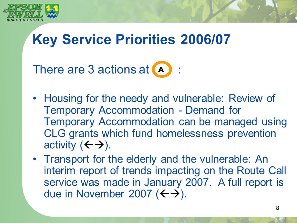 8 Key Service Priorities 2006/07 There are 3 actions at : Housing for the needy and vulnerable: Review of Temporary Accommodation - Demand for Tempora