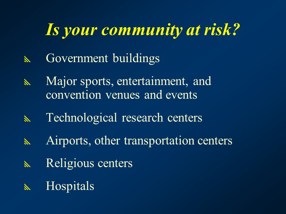 Is your community at risk.