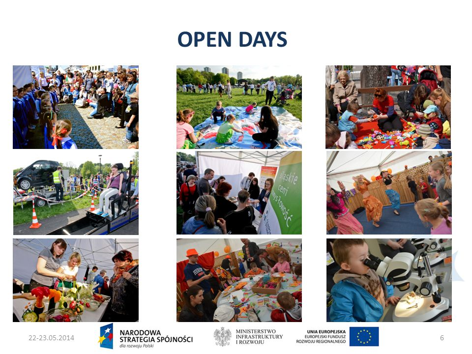 22-23.05.2014Ministers two Infrastruktury i Rozwoju7 1th MAY – 1 EVENT – 16 REGIONS  16 open-air events in 16 regions  About 7000 visitors on one event in each region  10-23 beneficieries's and projects's stands on each event