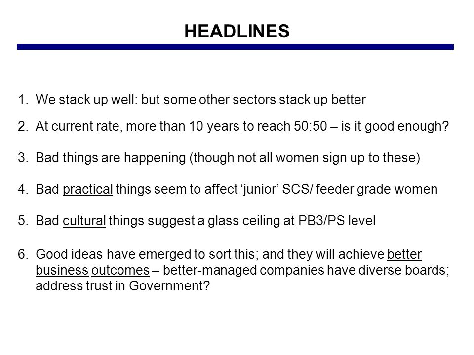 HEADLINES 1.We stack up well: but some other sectors stack up better 2.At current rate, more than 10 years to reach 50:50 – is it good enough.