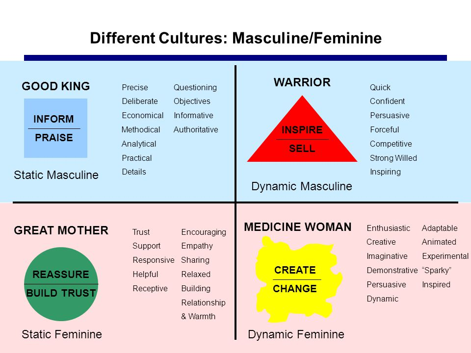 Different Cultures: Masculine/Feminine GOOD KING Static Masculine INFORM PRAISE REASSURE BUILD TRUST GREAT MOTHER Static Feminine Precise Deliberate Economical Methodical Analytical Practical Details Questioning Objectives Informative Authoritative Trust Support Responsive Helpful Receptive Encouraging Empathy Sharing Relaxed Building Relationship & Warmth INSPIRE SELL WARRIOR Dynamic Masculine Quick Confident Persuasive Forceful Competitive Strong Willed Inspiring CREATE CHANGE MEDICINE WOMAN Dynamic Feminine Enthusiastic Creative Imaginative Demonstrative Persuasive Dynamic Adaptable Animated Experimental Sparky Inspired