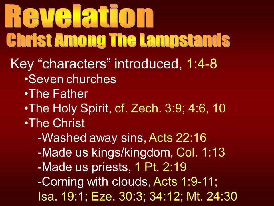Key characters introduced, 1:4-8 Seven churches The Father The Holy Spirit, cf.