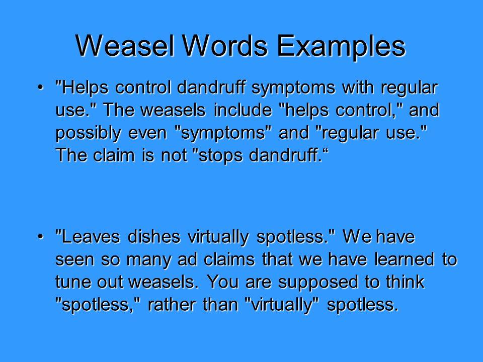 Weasel Words Examples
