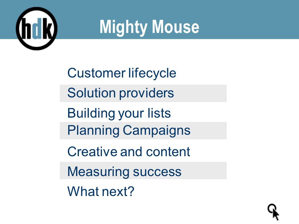 Mighty Mouse Customer lifecycle Solution providers Building your lists Planning Campaigns Creative and content Measuring success What next?