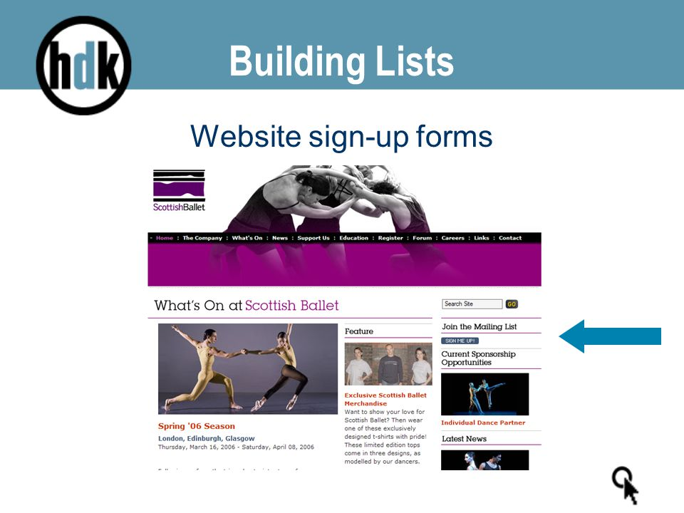 Building Lists Website sign-up forms