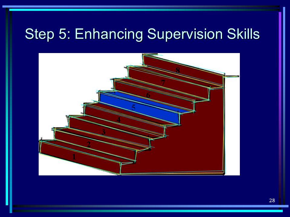 28 Step 5: Enhancing Supervision Skills
