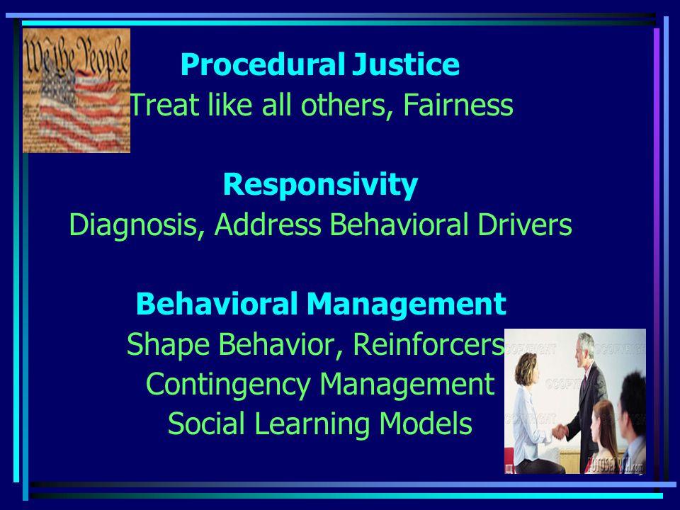 9 Procedural Justice Treat like all others, Fairness Responsivity Diagnosis, Address Behavioral Drivers Behavioral Management Shape Behavior, Reinforcers, Contingency Management Social Learning Models