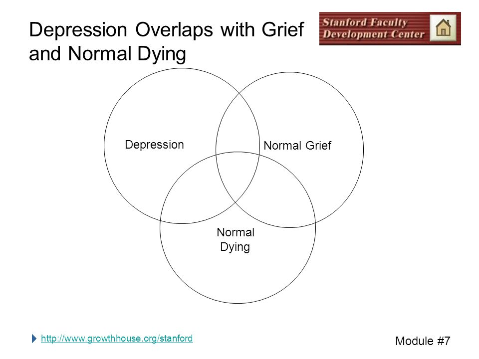 http://www.growthhouse.org/stanford Module #7 Depression Normal Grief Normal Dying Depression Overlaps with Grief and Normal Dying