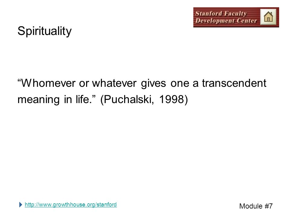 http://www.growthhouse.org/stanford Module #7 Spirituality Whomever or whatever gives one a transcendent meaning in life. (Puchalski, 1998)