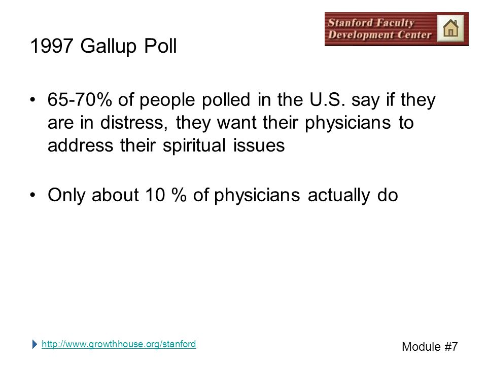 http://www.growthhouse.org/stanford Module #7 1997 Gallup Poll 65-70% of people polled in the U.S.