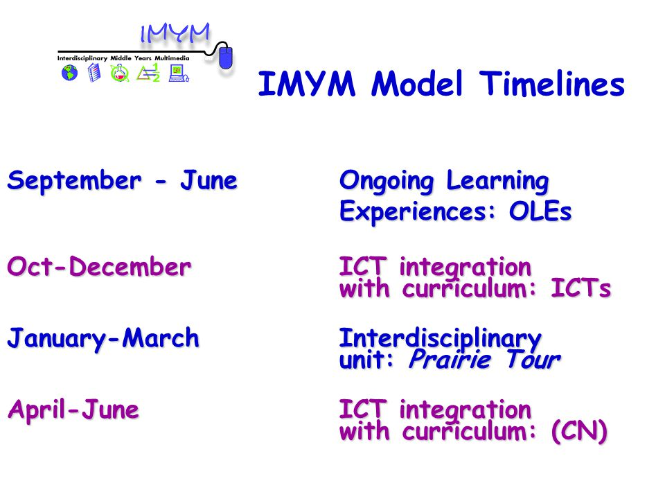 Oct-DecemberICT integration with curriculum: ICTs January-MarchInterdisciplinary unit: Prairie Tour April-June ICT integration with curriculum: (CN) IMYM Model Timelines September - JuneOngoing Learning Experiences: OLEs