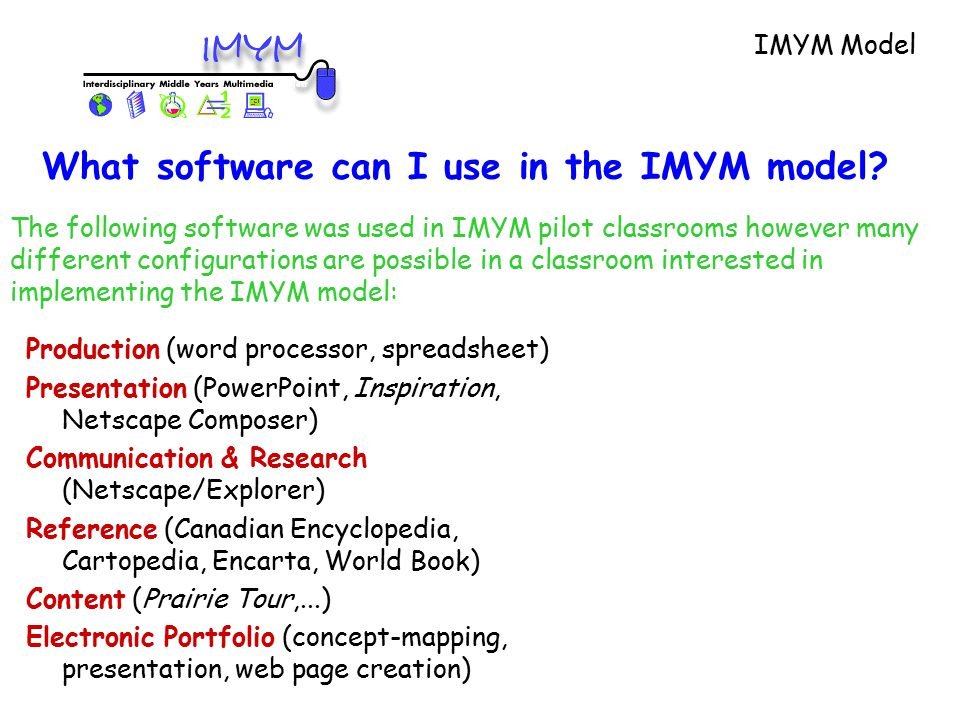 Production (word processor, spreadsheet) Presentation (PowerPoint, Inspiration, Netscape Composer) Communication & Research (Netscape/Explorer) Reference (Canadian Encyclopedia, Cartopedia, Encarta, World Book) Content (Prairie Tour,...) Electronic Portfolio (concept-mapping, presentation, web page creation) The following software was used in IMYM pilot classrooms however many different configurations are possible in a classroom interested in implementing the IMYM model: IMYM Model What software can I use in the IMYM model?