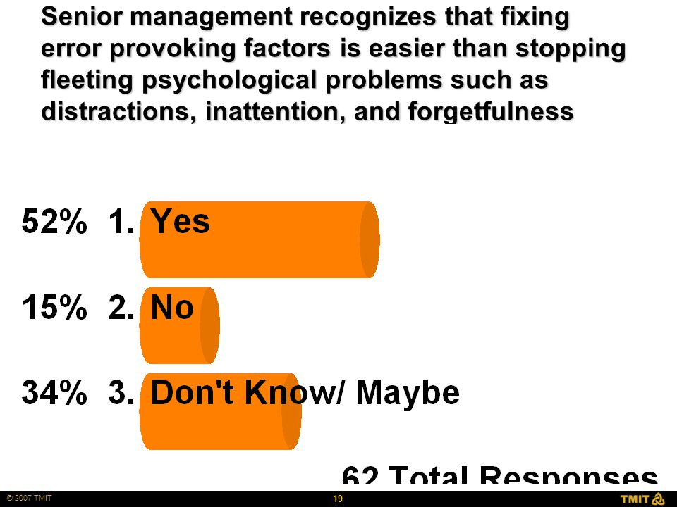 19 © 2007 TMIT Senior management recognizes that fixing error provoking factors is easier than stopping fleeting psychological problems such as distractions, inattention, and forgetfulness