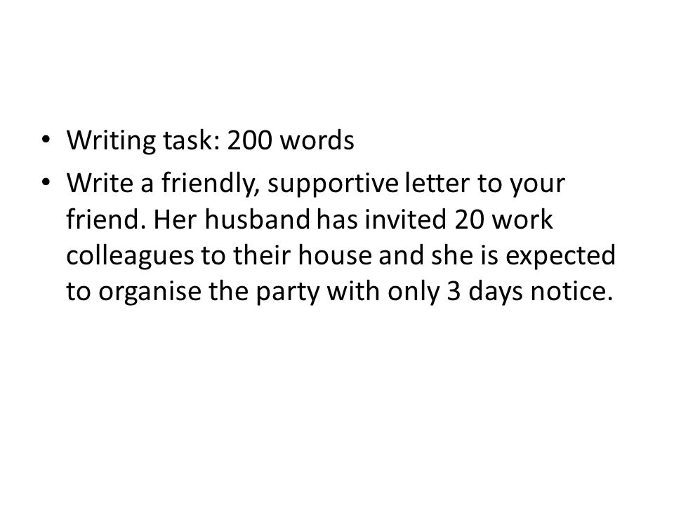 Writing task: 200 words Write a friendly, supportive letter to your friend.