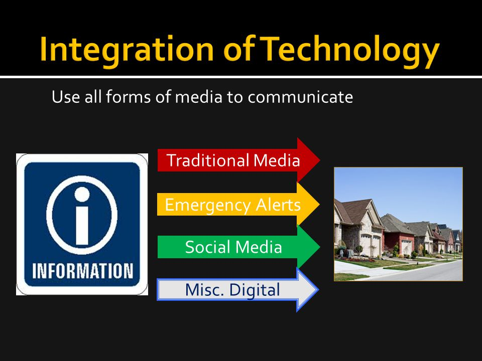 Use all forms of media to communicate Emergency Alerts Social Media Traditional Media Misc. Digital