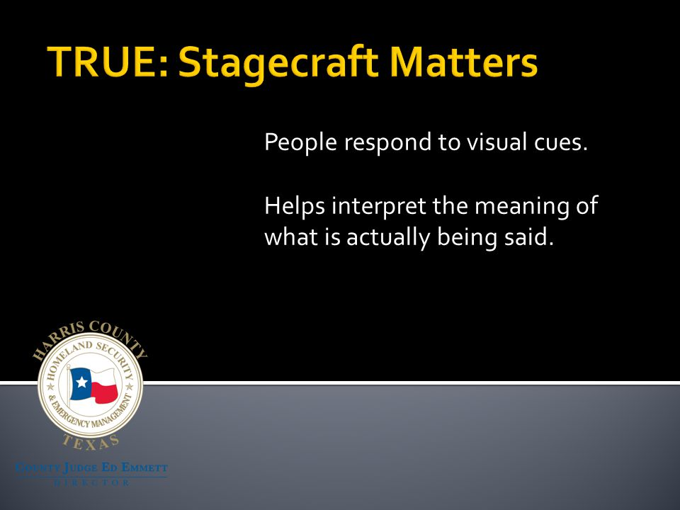 People respond to visual cues. Helps interpret the meaning of what is actually being said.