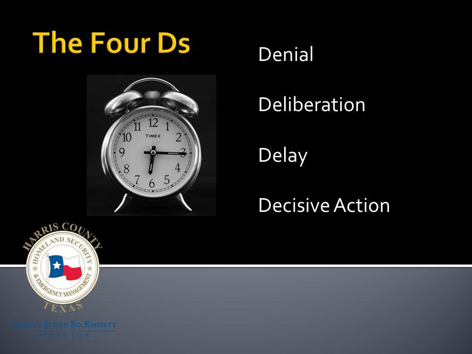 Denial Deliberation Delay Decisive Action