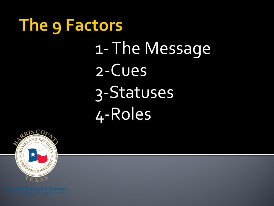 1- The Message 2-Cues 3-Statuses 4-Roles